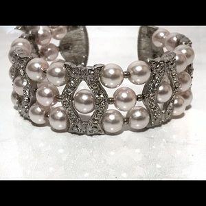 Rose Blush Pink Pearl Vintage Cuff Bracelet